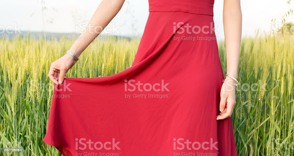 Girl in a wheat field wearing red dress stock photo