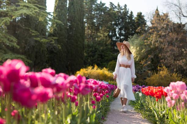 beyaz bir elbise ve şapka güzel çok renkli lale bir alanın ortasında yürüyüş bir kız. - beyaz elbise stok fotoğraflar ve resimler