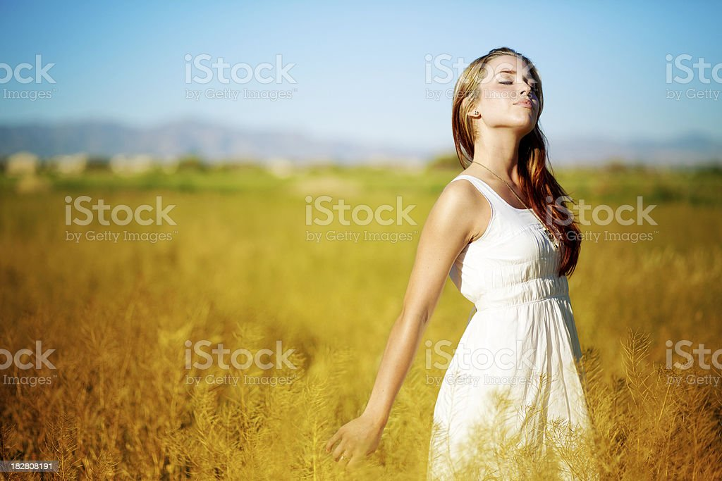 Girl in a white dress walking through wheat field. royalty-free stock photo