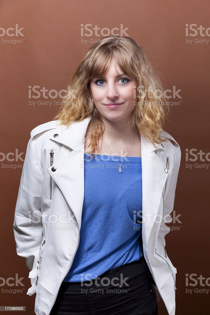 Girl In A White Leather Jacket royalty-free stock photo