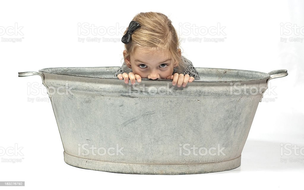 girl in a zinc bowl stock photo