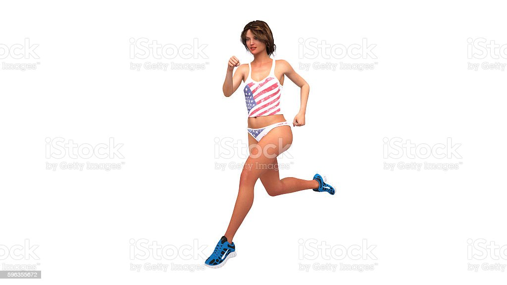 Girl in american flag costume running, athlete woman jogging stock photo