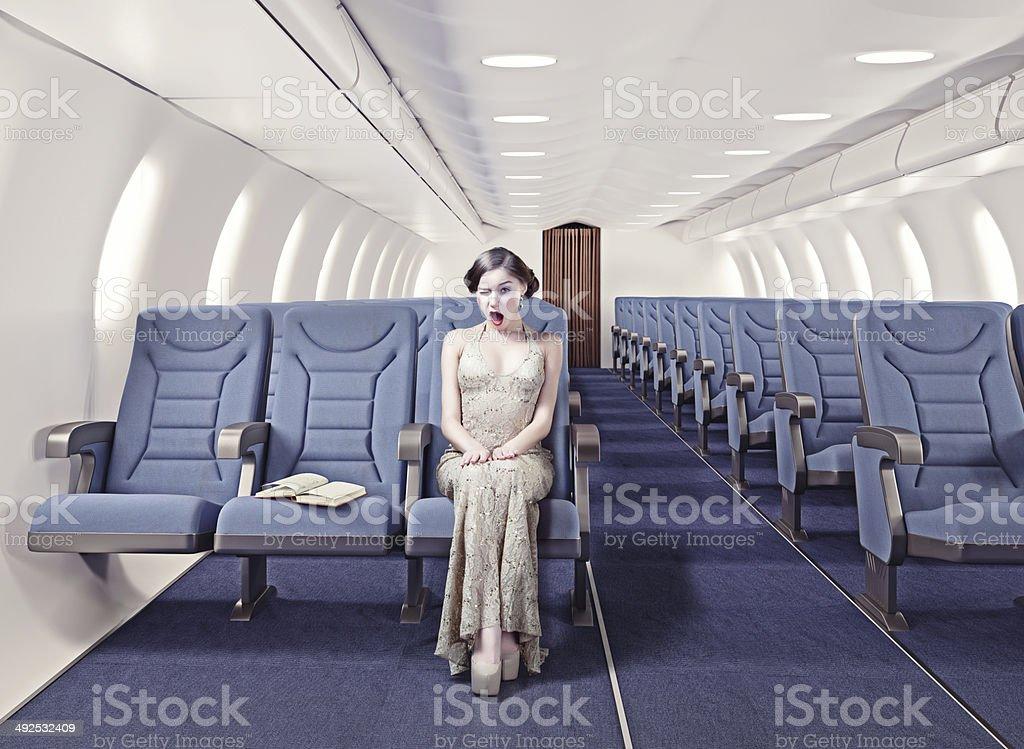 Fille dans un avion - Photo