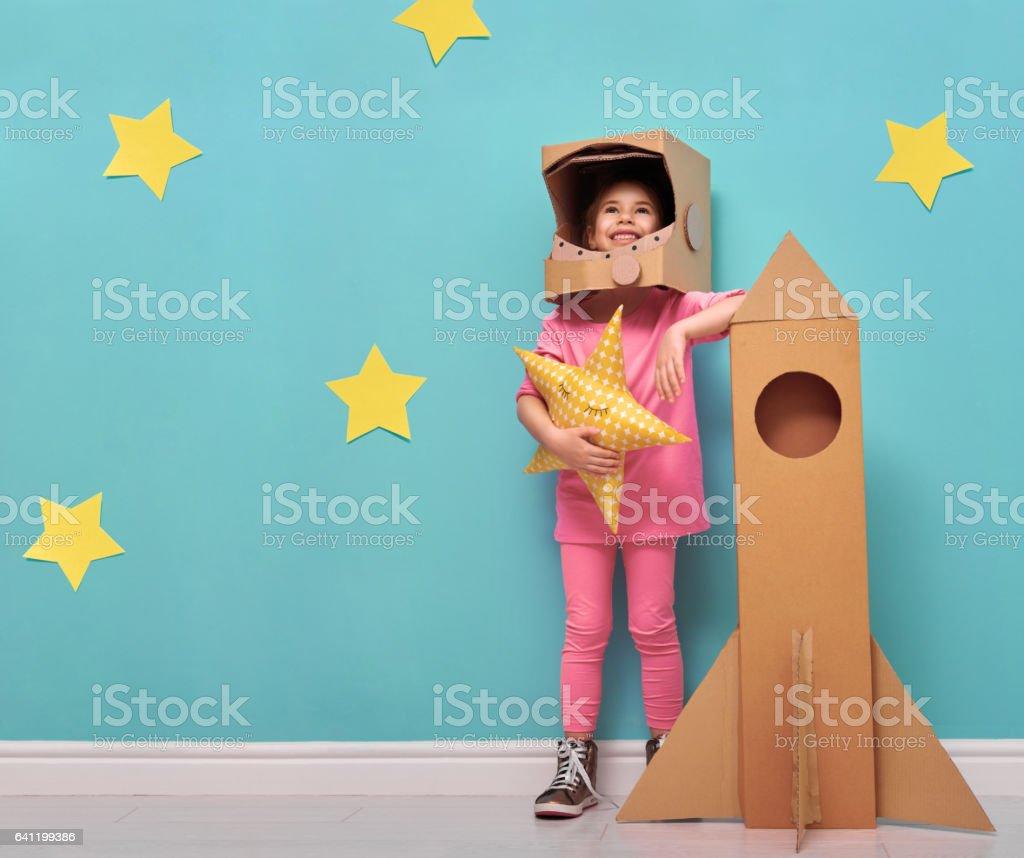 Kız bir astronot kostüm stok fotoğrafı