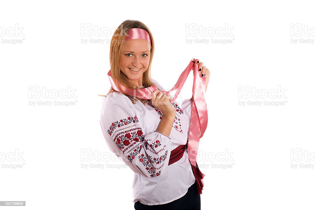 girl in an embroidered white shirt. stock photo