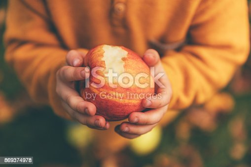 865889676 istock photo Girl in an orchard holding a red apple 869374978