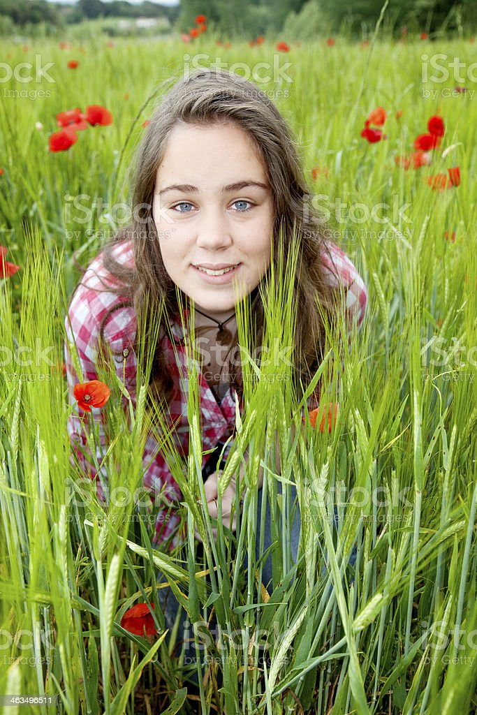 Girl in an sprinp field royalty-free stock photo