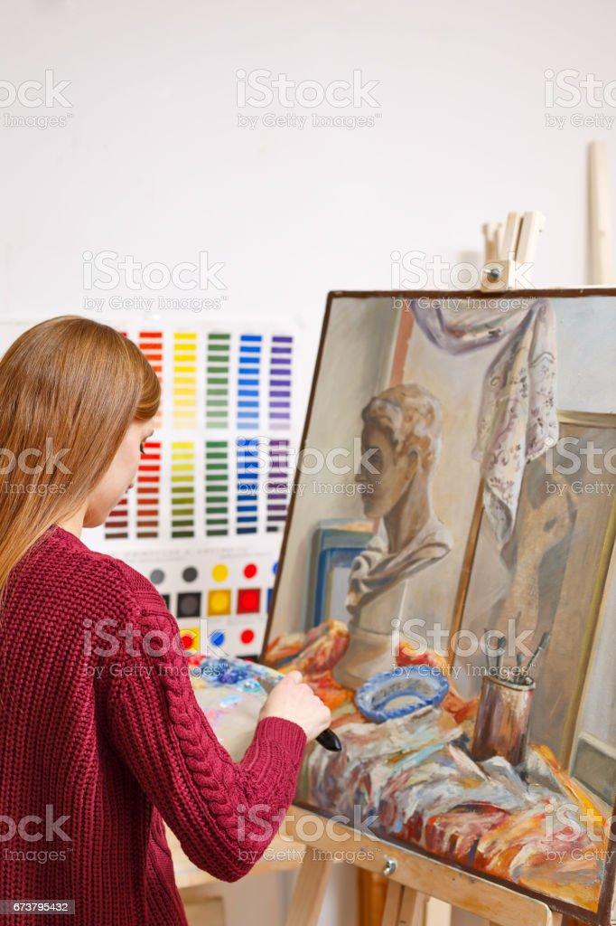 Girl in art school royalty-free stock photo