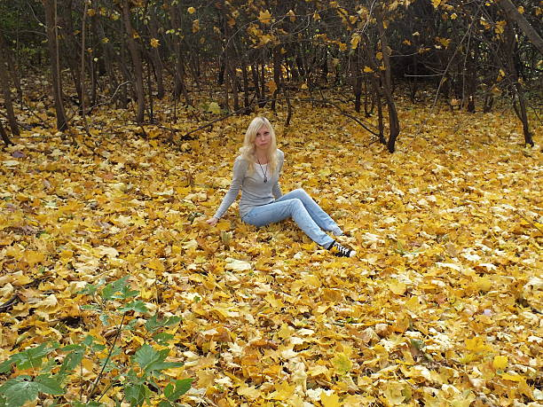 girl in autumn forest - 18 23 months stock photos and pictures