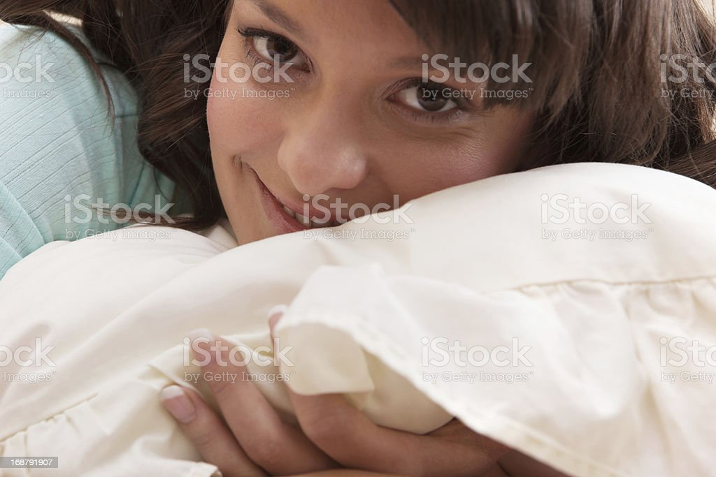 Girl in bed close up royalty-free stock photo