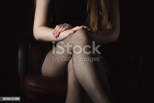 istock Girl in black fishnet stockings against dark background. Sexy woman in stockings sitting on chair. Strict woman domination bdsm concept. 955845096