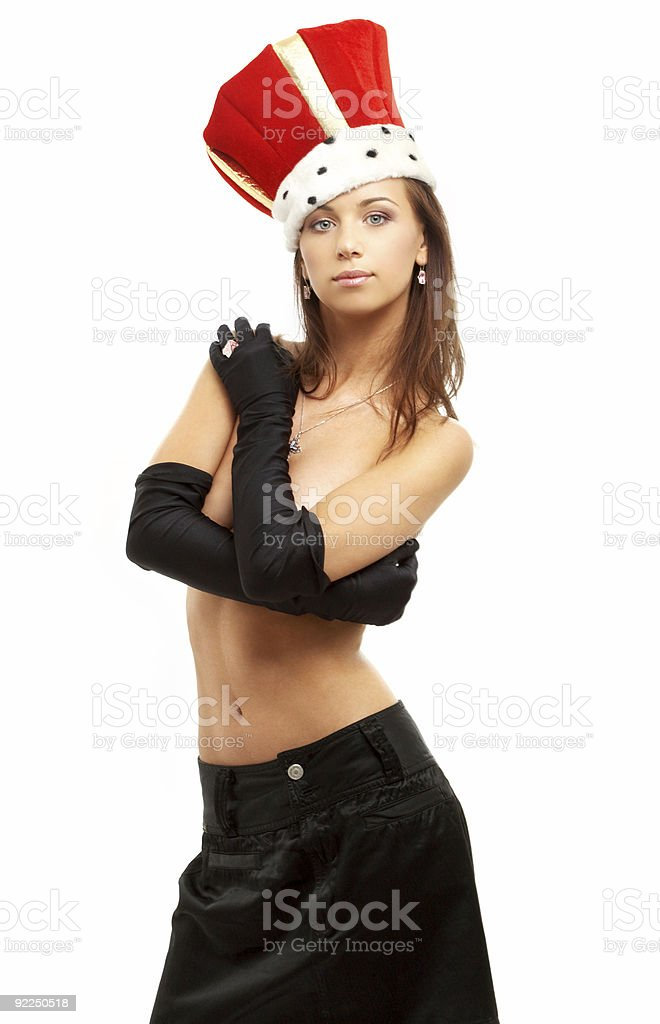 girl in black gloves and red crown royalty-free stock photo
