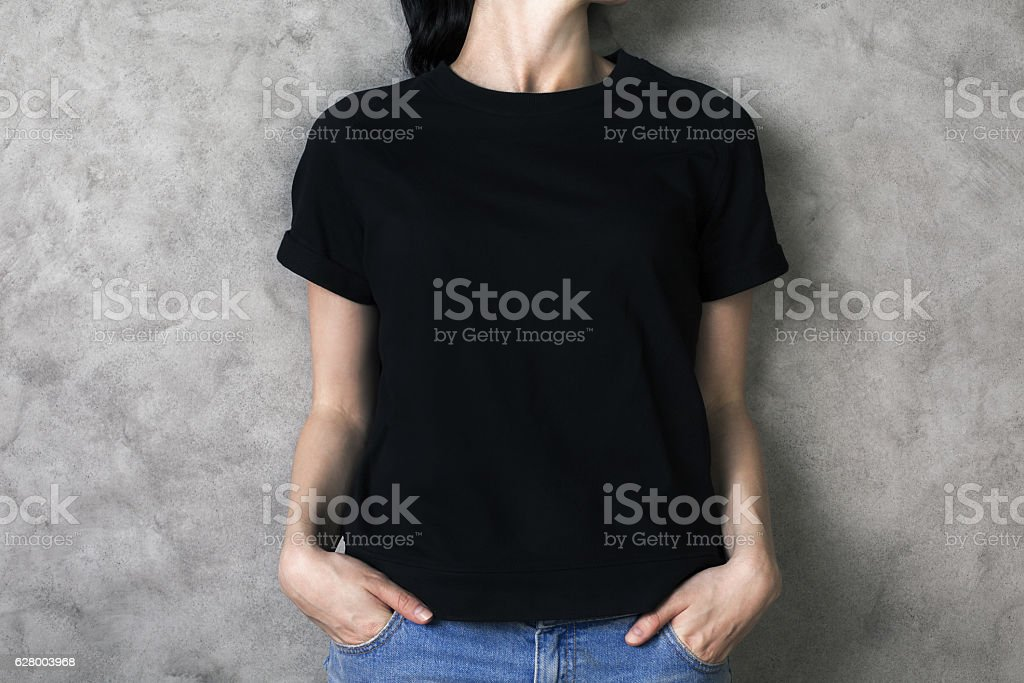 Girl in black shirt stock photo