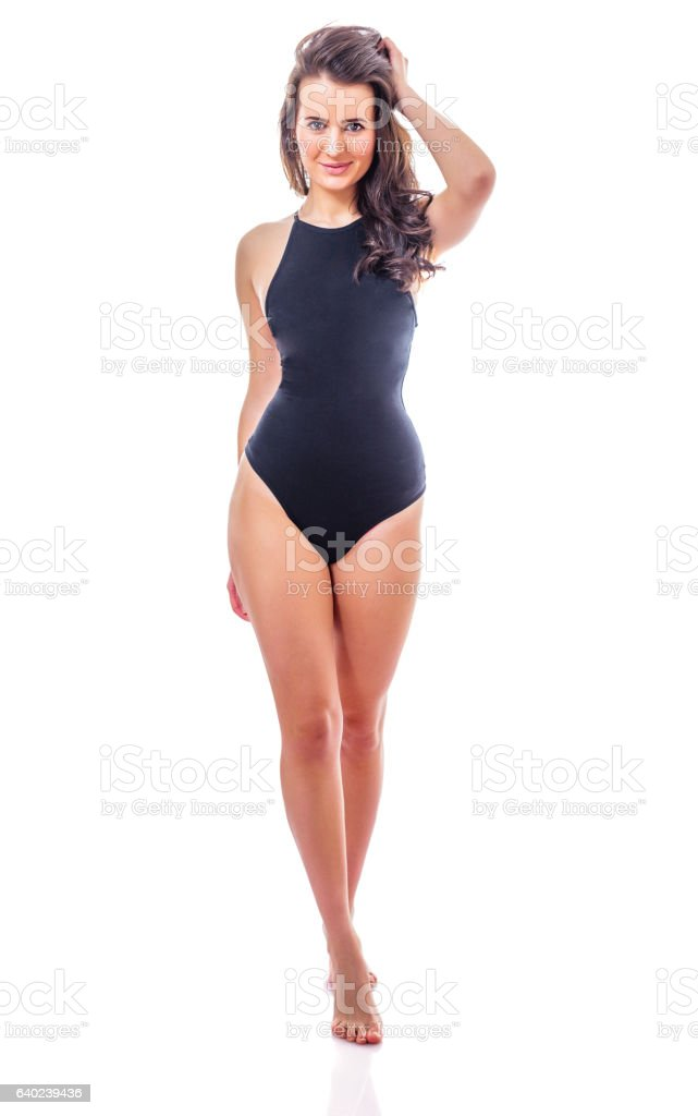 girl in black swimsuit stock photo