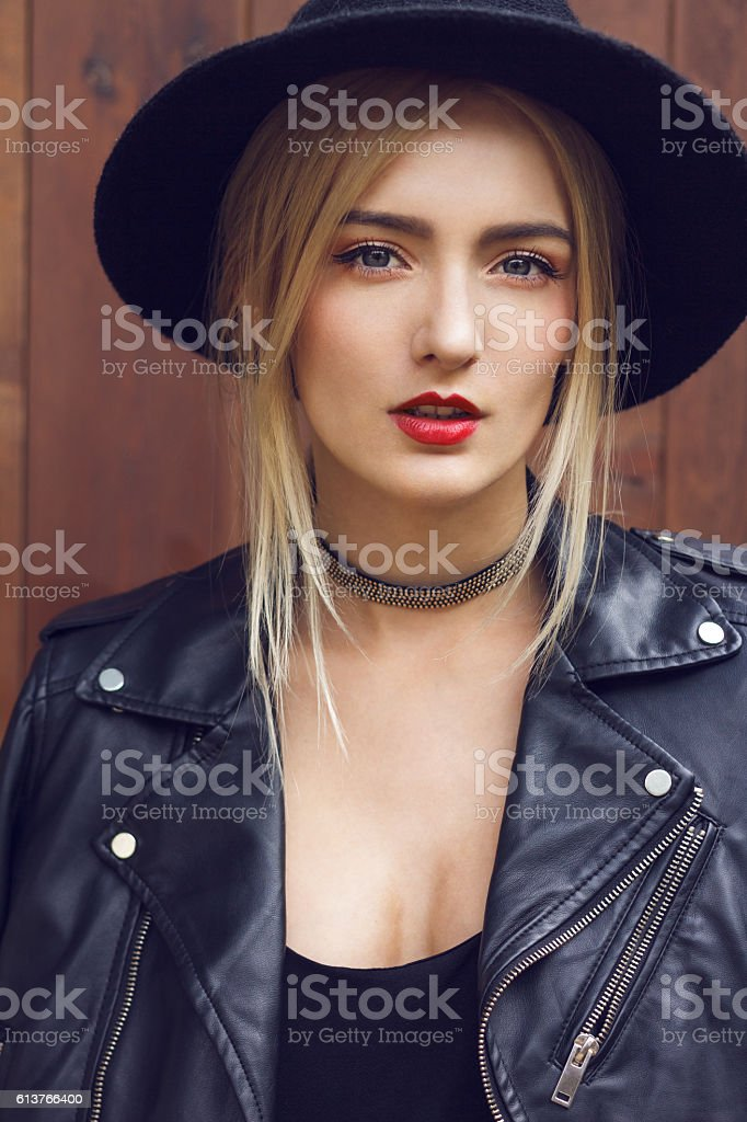 Girl in black with choker stock photo