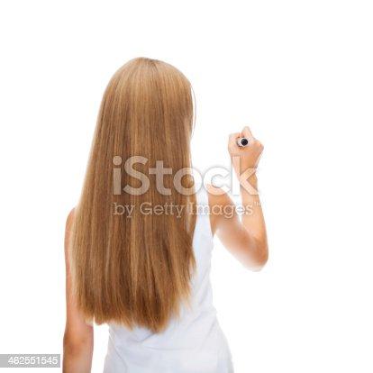 istock girl in blank white shirt drawing something 462551545