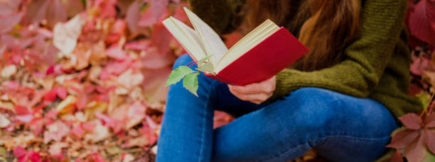 Girl in blue jeans sitting among colorful ivy in autumn and reading a book in red cover stock photo