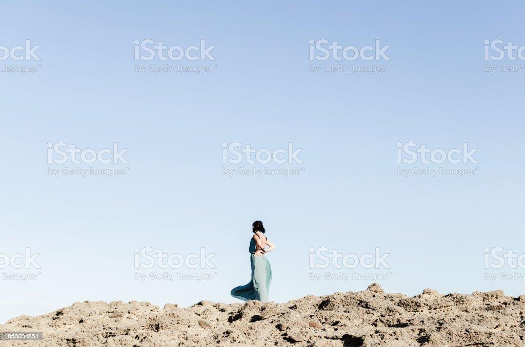 Girl in blue stock photo