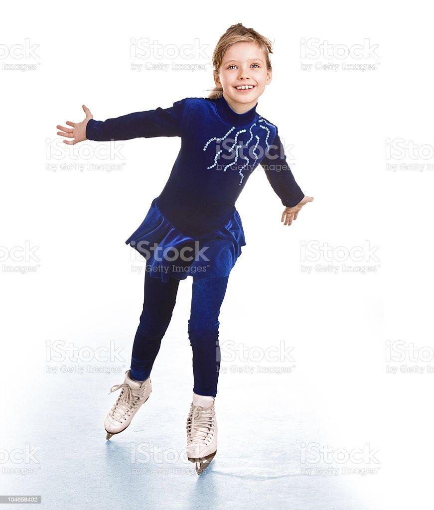 Girl in blue sport dress on skates. royalty-free stock photo