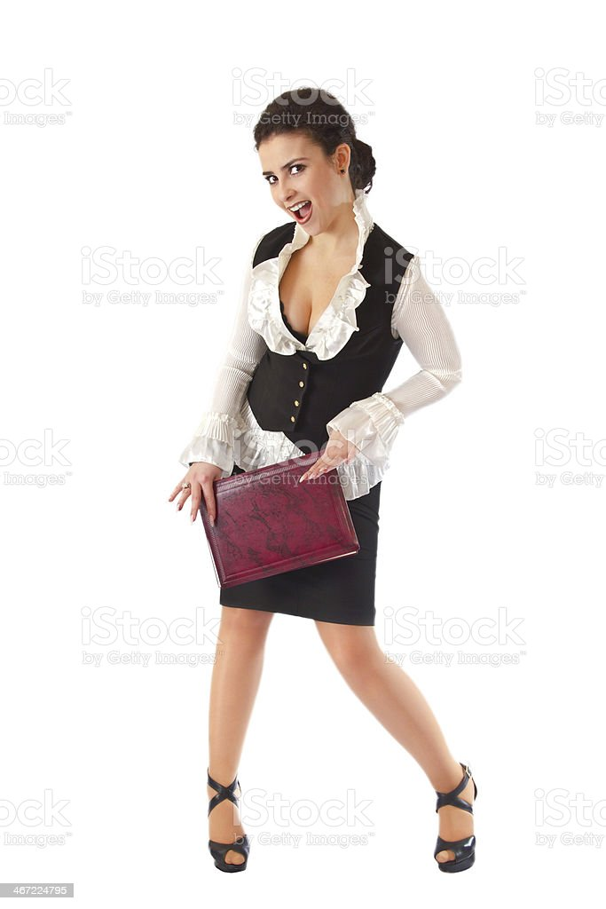 Girl in  business suit with a folder stock photo