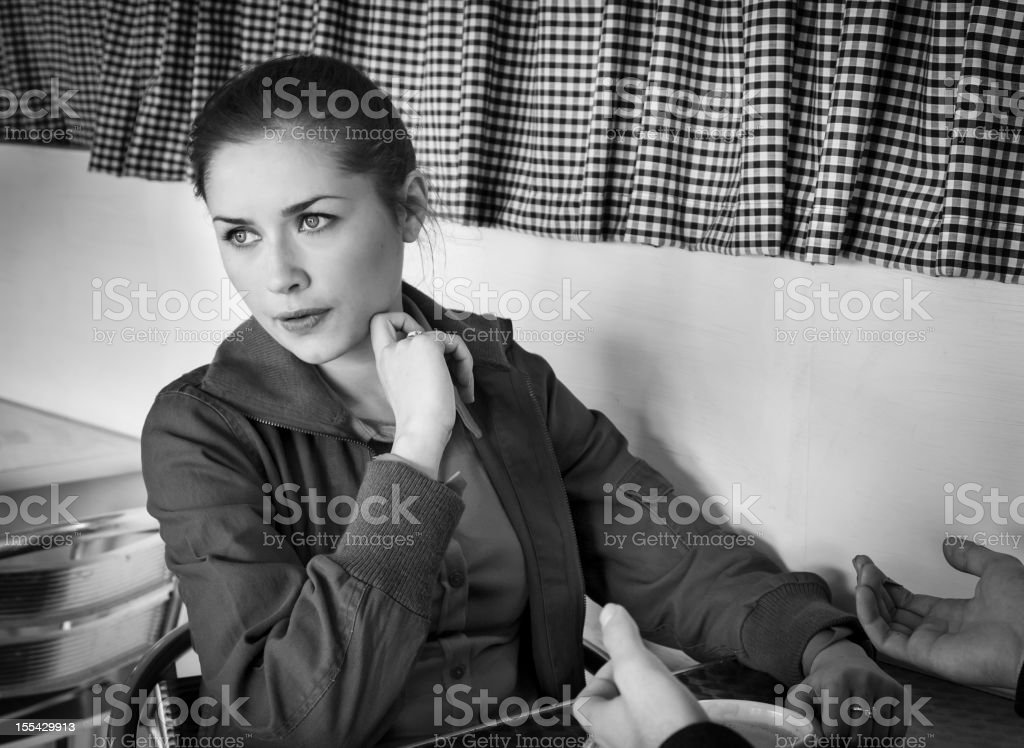 Girl in cafe royalty-free stock photo