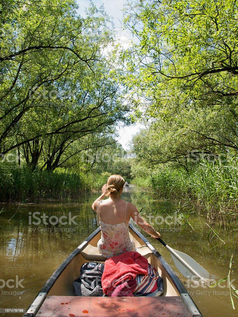 Girl in Canoe stock photo