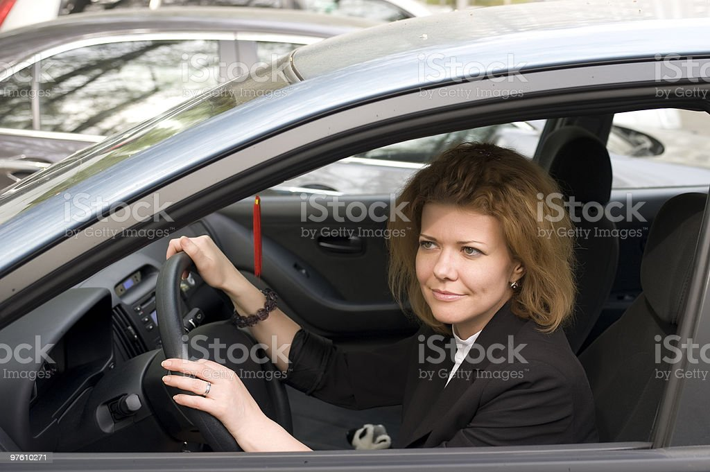 Girl in car closeup royaltyfri bildbanksbilder