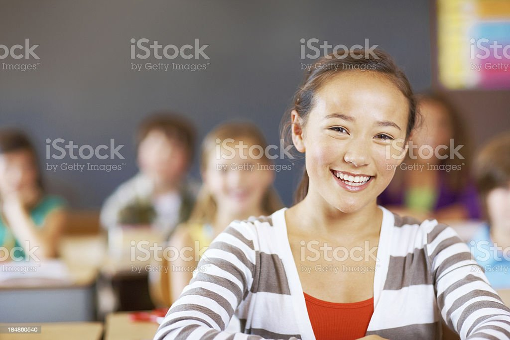 Girl in classroom royalty-free stock photo