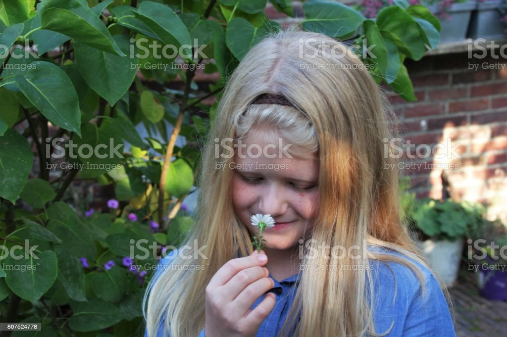 Girl in close up stock photo