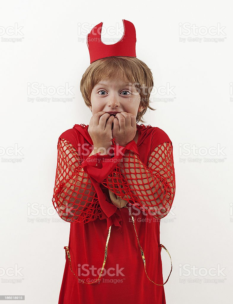 Girl in costume scared royalty-free stock photo
