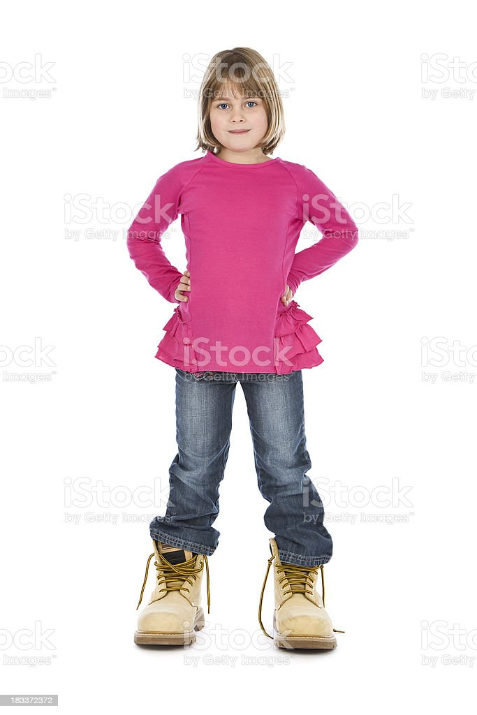 Girl In Dads Boots stock photo