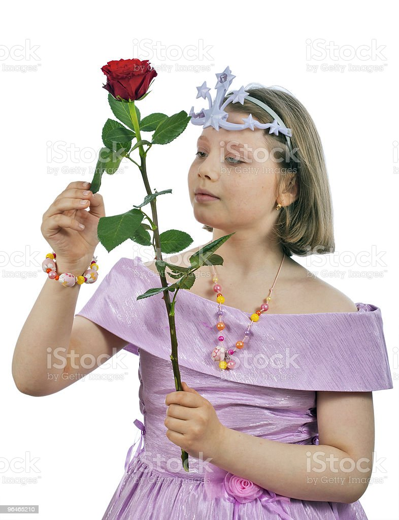 Girl in elegant dress, crown and rose royalty-free stock photo