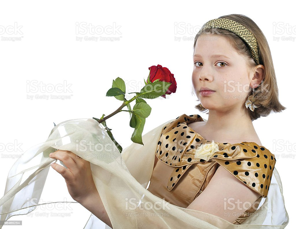 Girl in elegant dress, hat and rose royalty-free stock photo