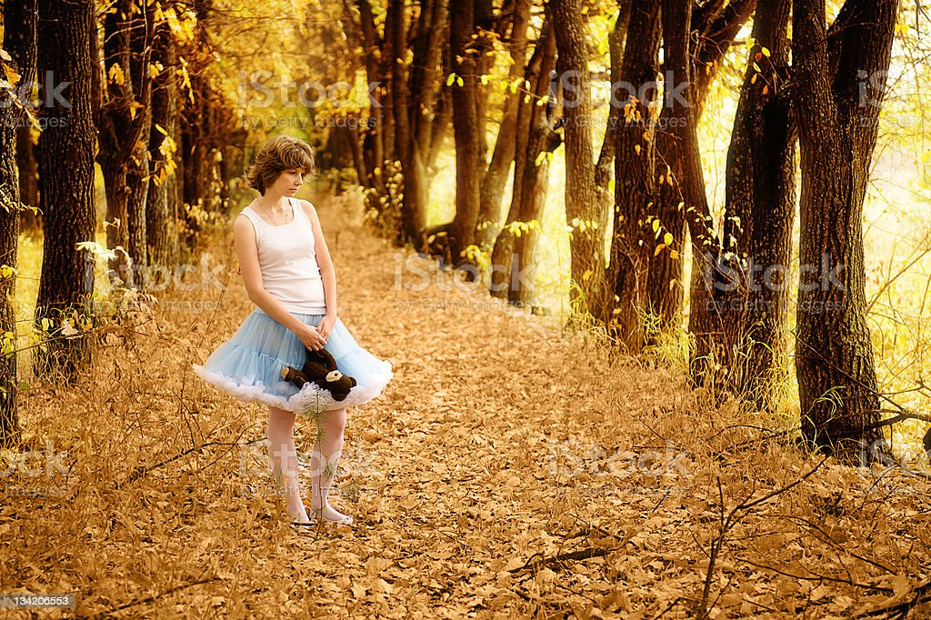 girl in fantastic wood royalty-free stock photo