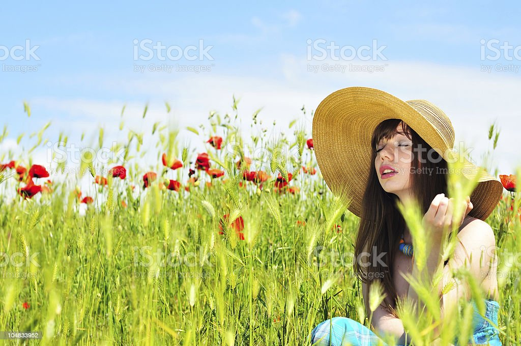 girl in field royalty-free stock photo