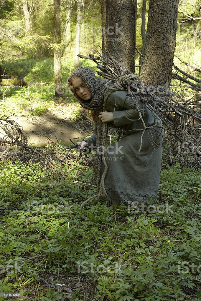 girl in forest, brushwood preparation royalty-free stock photo