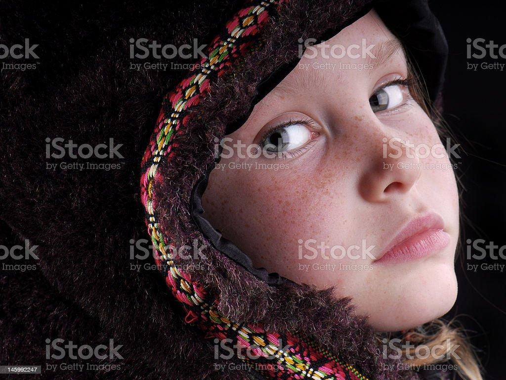 Girl in Fur Cape stock photo