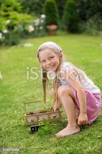Girl in garden planting herbs
