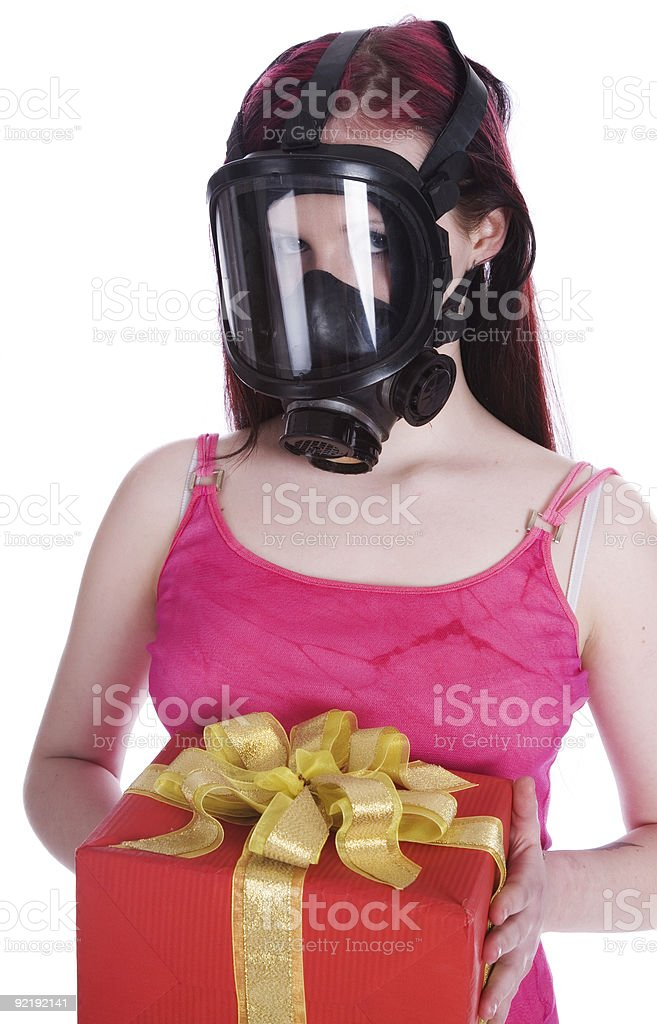 girl in gas mask royalty-free stock photo