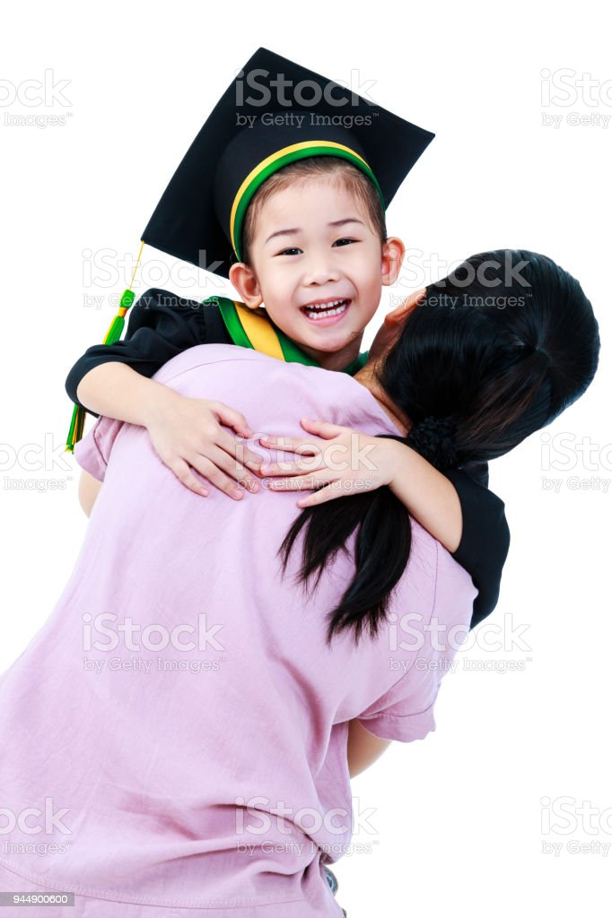 Girl In Graduation Gown With Her Mother Isolated On White Background ...