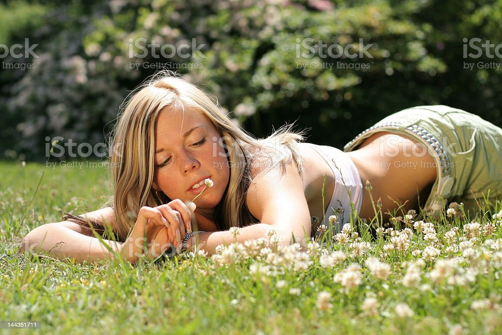 Girl in grass royalty-free stock photo