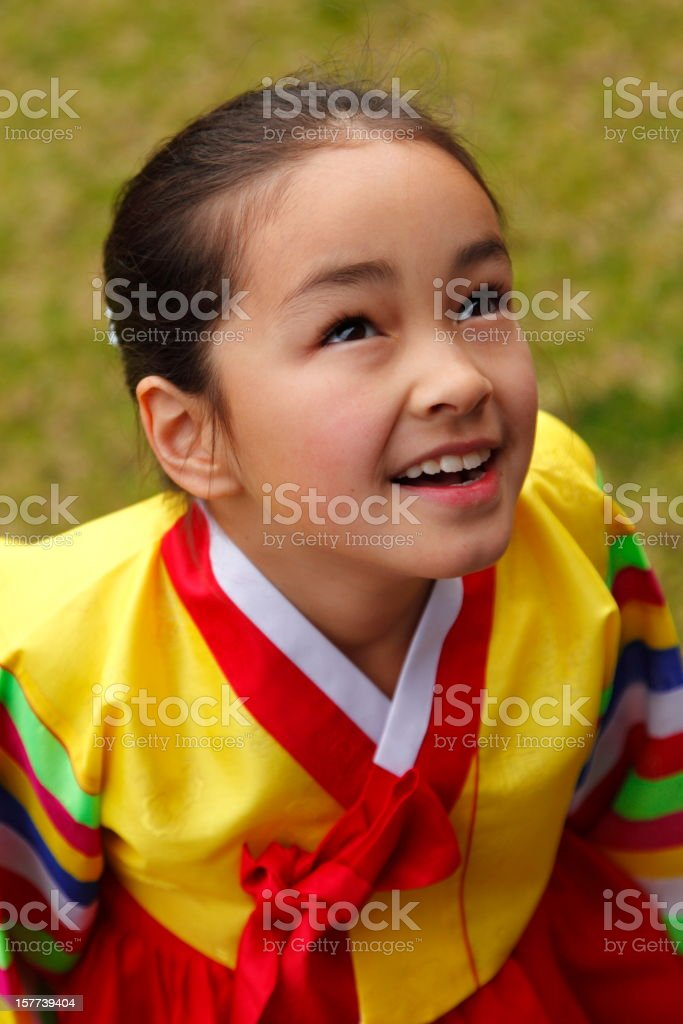 Girl in Hanbok stock photo