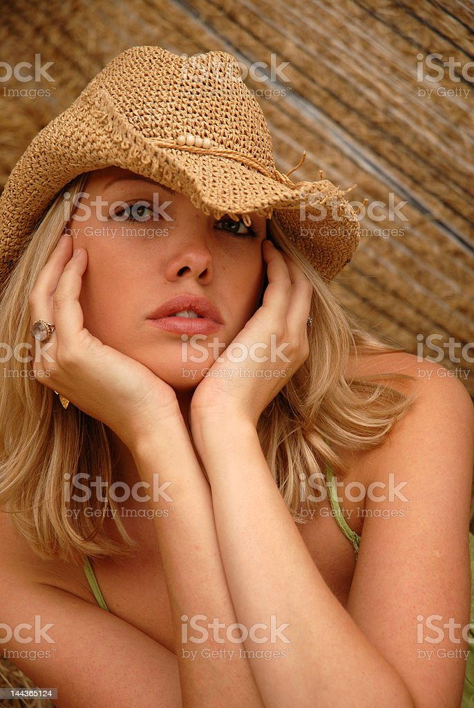 Girl in hat royalty-free stock photo