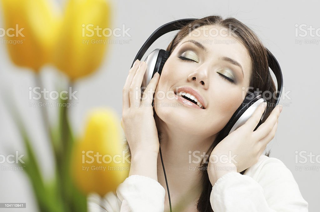 girl in headphones royalty-free stock photo