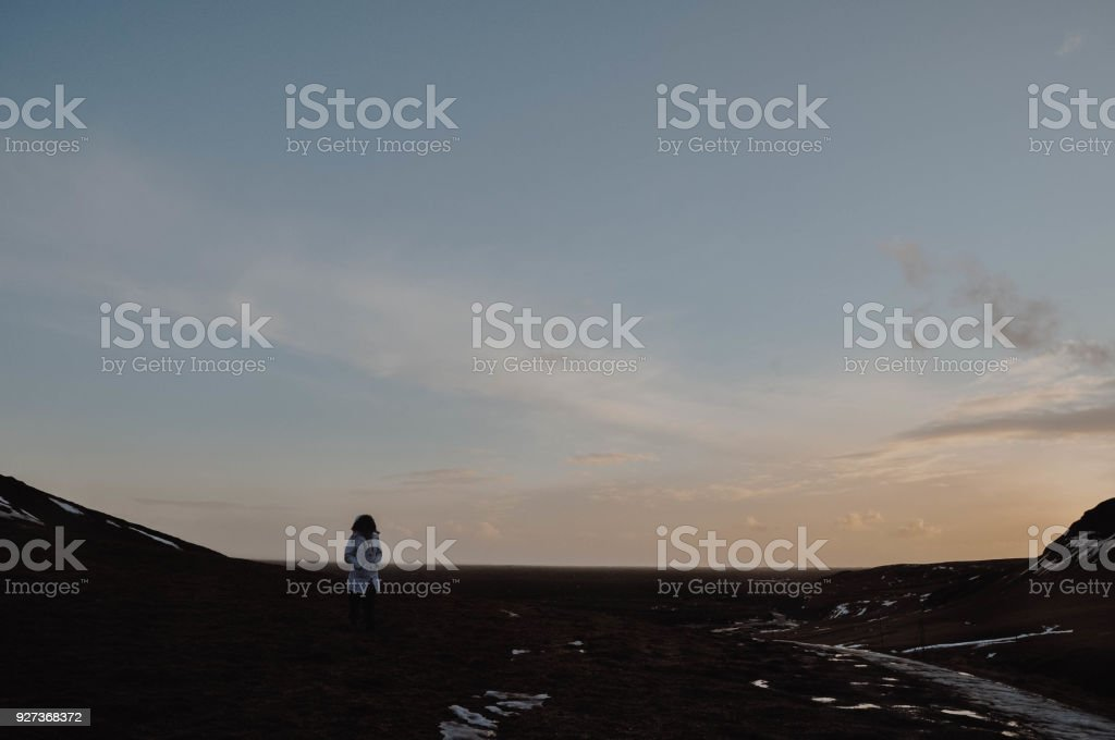 Girl in Iceland Landscape - Royalty-free Agricultural Field Stock Photo