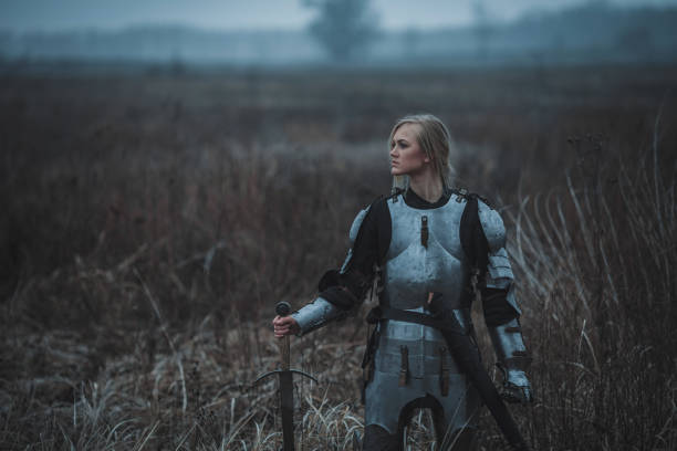 girl in image of jeanne d'arc in armor and with sword in her hands stands on meadow. closeup. - indumento corazzato foto e immagini stock