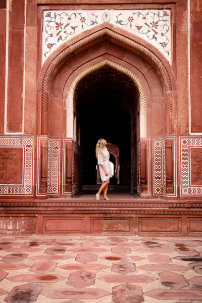 Girl in India Sightseeing stock photo