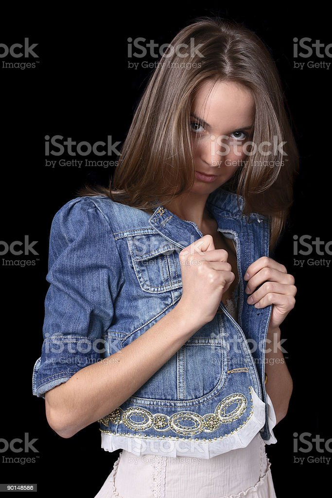 girl in jacket royalty-free stock photo