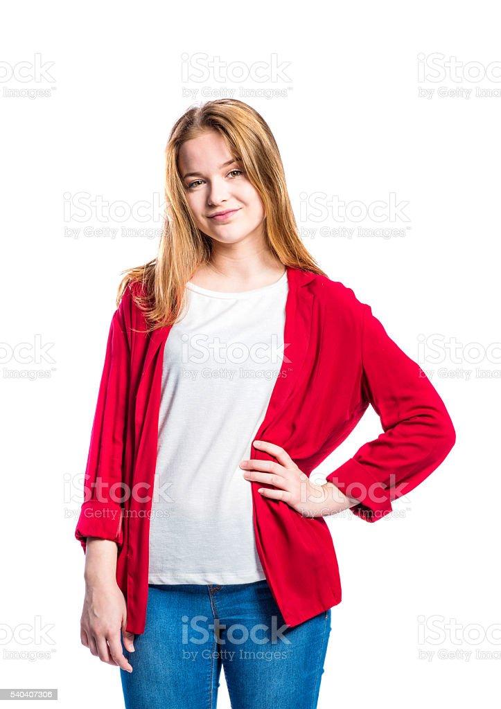 competitive price 40d47 44008 Ragazza In Jeans E Una Giacca Rossa Donna Studio Girato ...