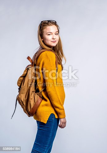 istock Girl in jeans and sweater, young woman, studio shot 538984184